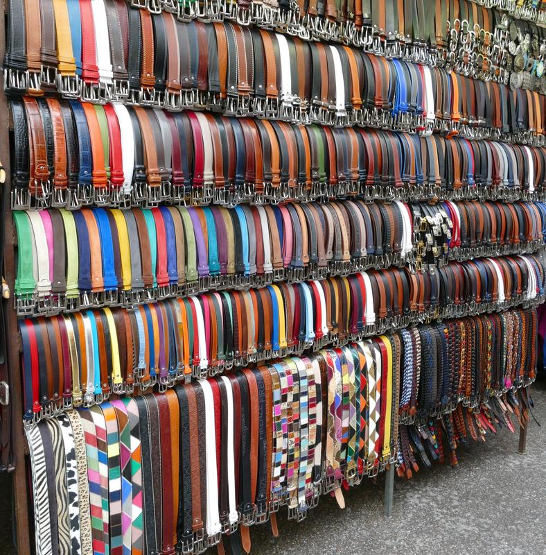 Belts (and more belts) for sale near the central market.