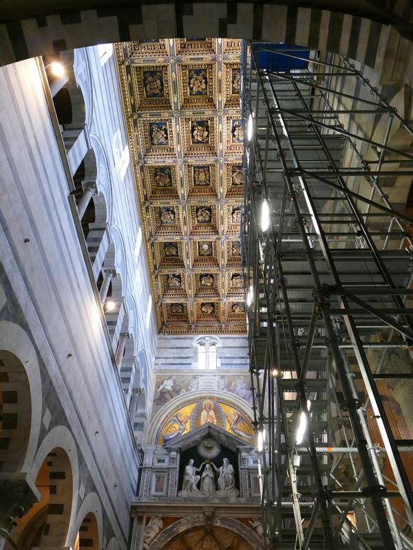 The interior of the Duomo (Cathedral) in Pisa, with scaffolding.