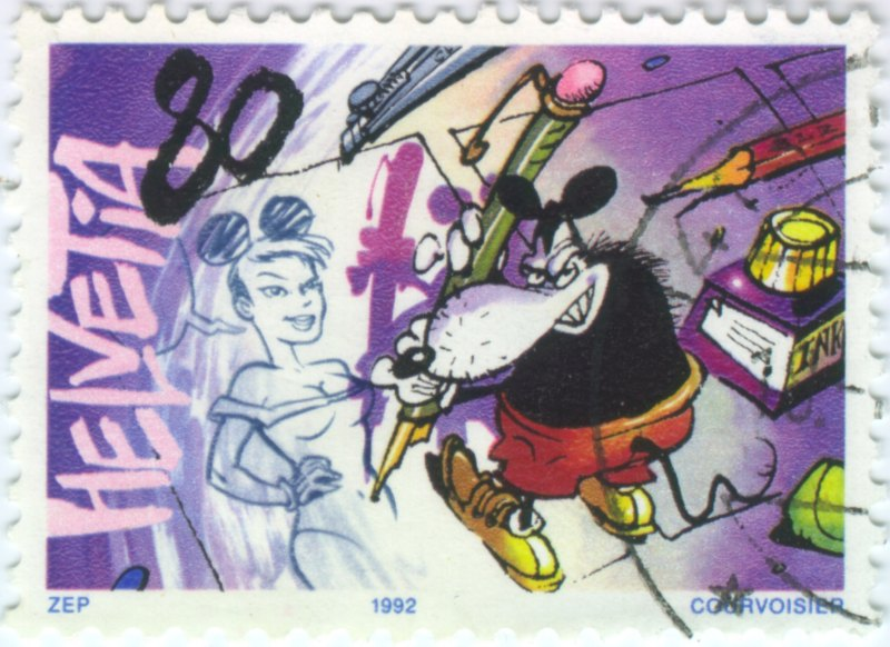 Swiss stamp with mouse comic