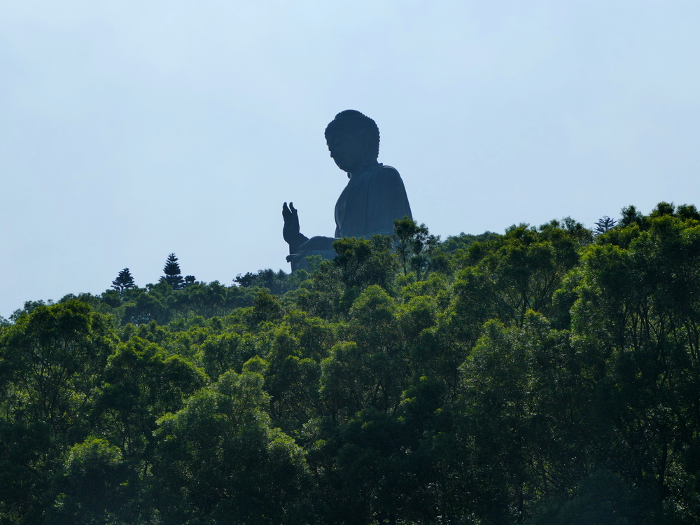 The Big Buddha looms over the trees