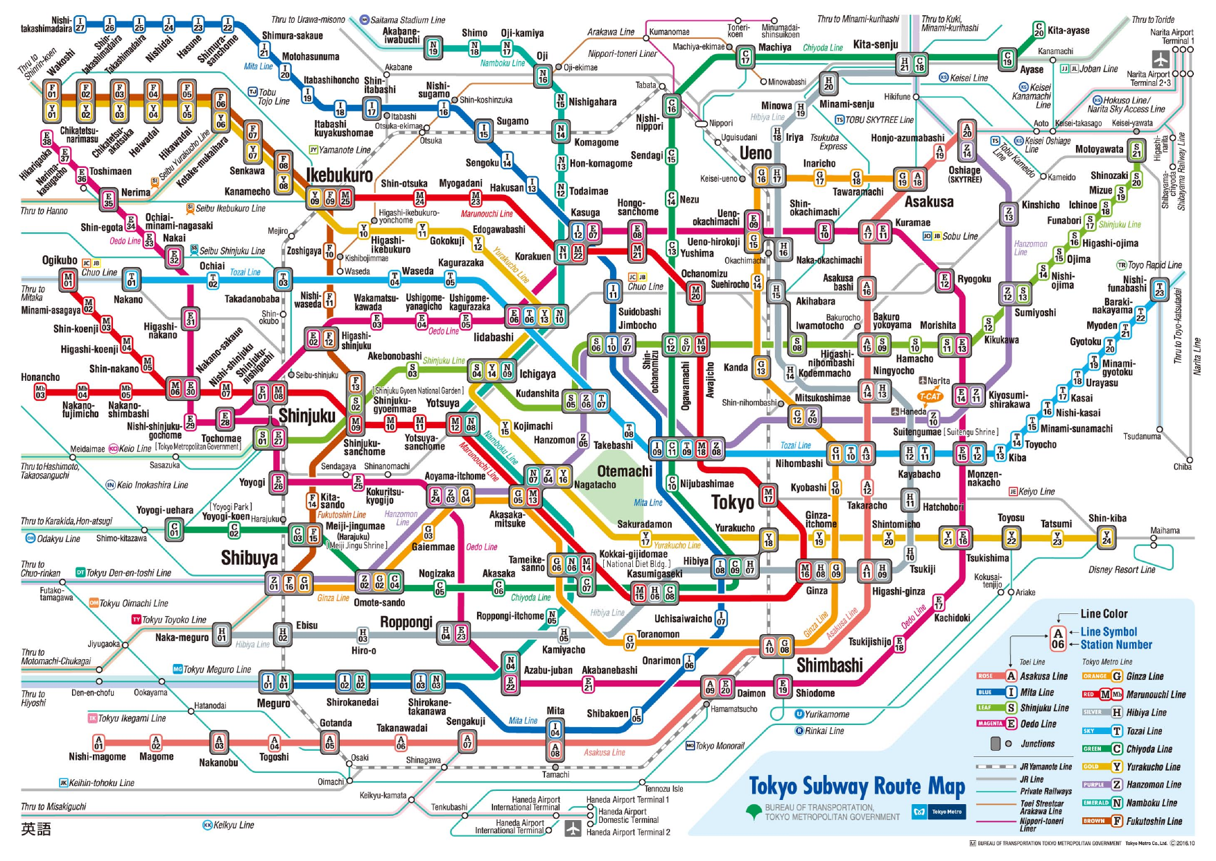 the Tokyo subway map (complex)