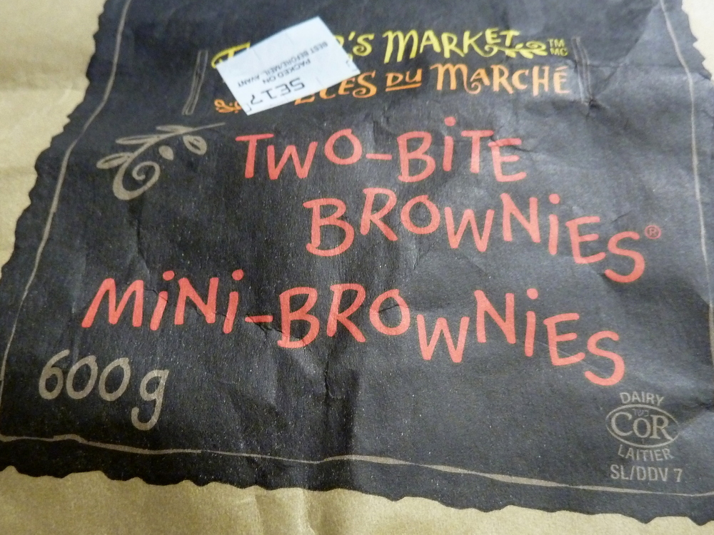 the front label of the Two Bite Brownies bag
