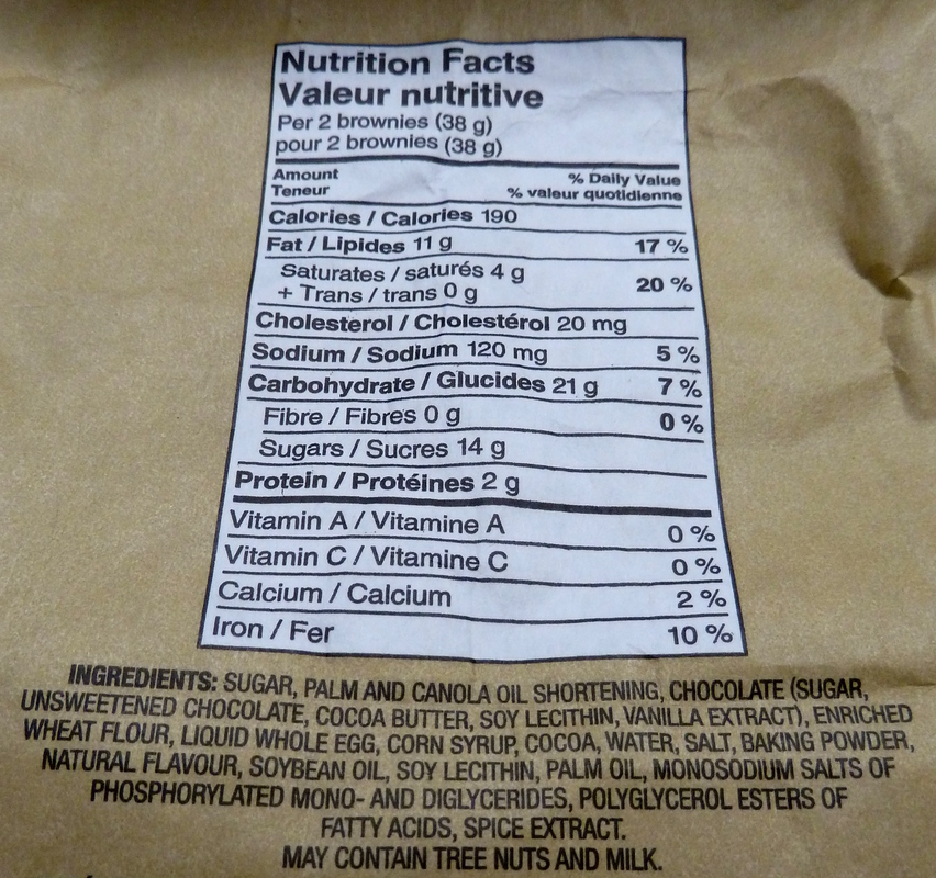 The caloric information and ingredients of the Two Bite Brownies