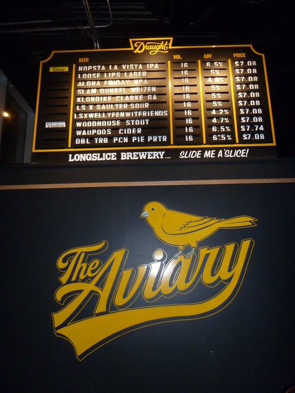 A huge yellow on black Aviary sign, and a list of current beers on tap