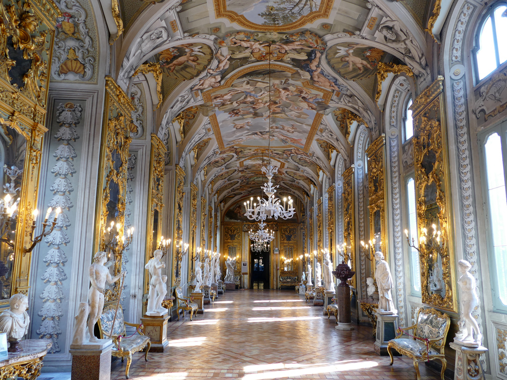 gold-leafed, windowed, and mirrored corridor lined with sculptures (and a frescoed ceiling)