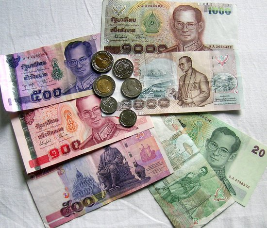 Thai currency, bills and coins