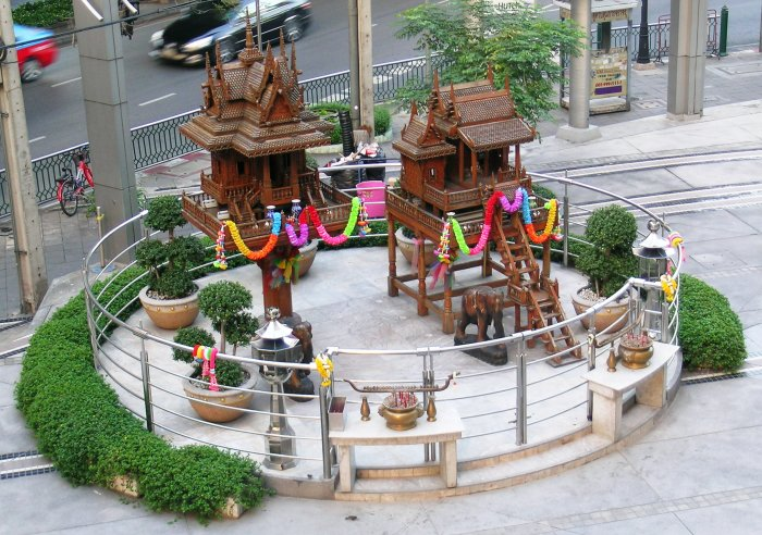A pair of large spirit houses outside the Siam Discovery Mall