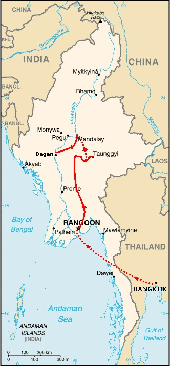Map of Myanmar with my route drawn on in red