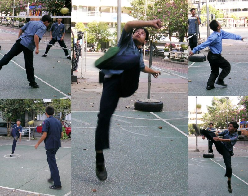 Five photos together of people playing Sepak Takraw in Chiang Mai, Thailand.