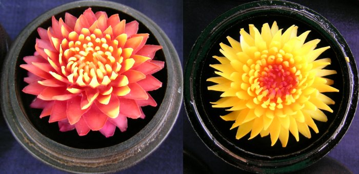 Orange and yellow soap flowers.