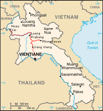 Map of Laos, with my route from Huay Xai down the Mekong to Luang Prabang, with a detour to Phonesavan on the way to Vientiane.