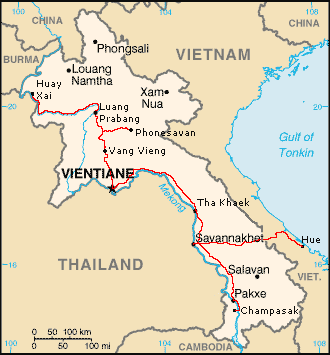 Map of Laos with my full path across the country, including the exit from Savannakhet to Hue, Vietnam.