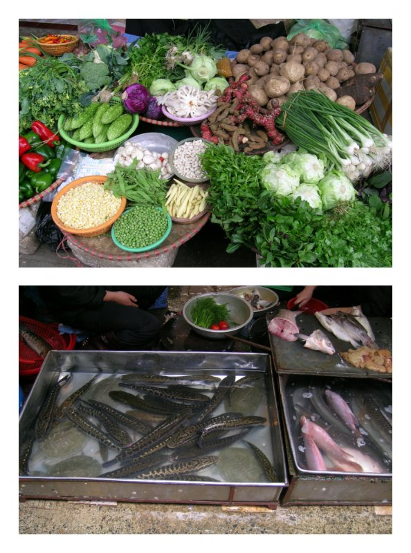 Vegetables and fish for sale