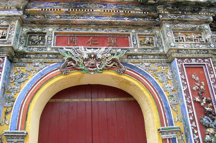Entrance gate to the Hue Imperial Enclosure decorated with ceramics