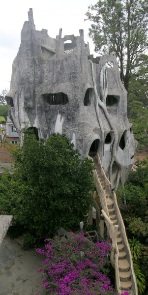 "One of the strangely formed buildings making up the ""Crazy House"" hotel in Dalat."