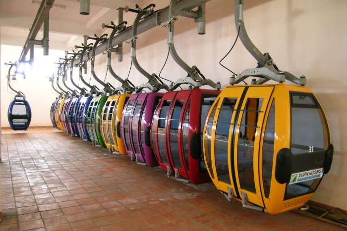 Colourful cable cars in their barn