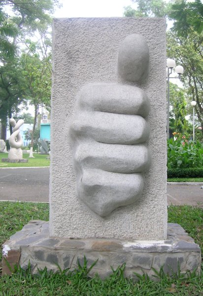 Thumbs up sculpture