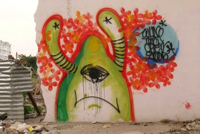 Unhappy alien graffiti in Khorat