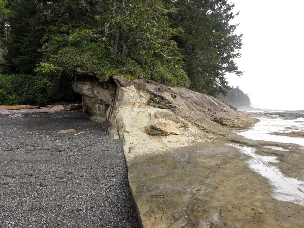Botanical Beach in Juan de Fuca Park, the split between gravel beach and rock.